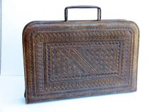 Vintage Mexican Etched Leather Briefcase