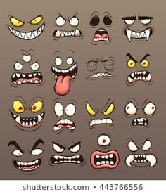 Vector clip art illustration with simple gradients. Each … ) ) Cartoon monster faces. Vector clip art illustration with simple gradients. Each on a separate layer. and PSD files included. Graffiti Doodles, Graffiti Cartoons, Graffiti Characters, Graffiti Drawing, Graffiti Lettering, Graffiti Face, Cartoon Faces Expressions, Funny Cartoon Faces, Drawing Cartoon Faces