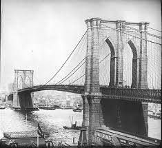 It took just over 13 years (1870-83) from start of construction until opening, or 18 years (1865-83), from the drawing-board to opening.  Originally called the New York and Brooklyn Bridge, the bridge cost $15.5 million to build. It was formally re-named The Brooklyn Bridge by the city government in 1915.