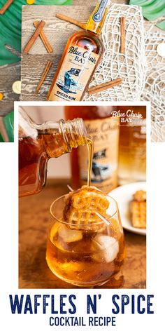 Breakfast 2.0. This fall rum cocktail recipe is an easy cocktail that only requires 4 ingredients. Shake Spiced Rum, Vanilla Rum, Syrup, and ice cubes in a shaker. Pour into glass and top with a mini waffle and a little extra syrup #bluechairbay #BCBHappyHour #vanillarum #spicedrum Rum Cocktail Recipes, Easy Cocktails, Vanilla Rum, Spiced Rum, Pure Maple Syrup, Ice Cubes, 4 Ingredients, Brunch Recipes, Shake