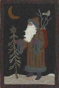 kris kringle. beautiful hooked rug. no artisan's name given.