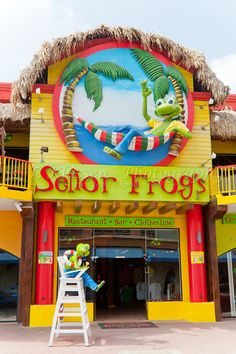 The famous Senor Frogs restaurant and pub in Oranjestad, Aruba, Netherlands Antilles.