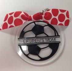 Custom Personalized 3 Round Acrylic Soccer Keychain by 357Studio, $7.99
