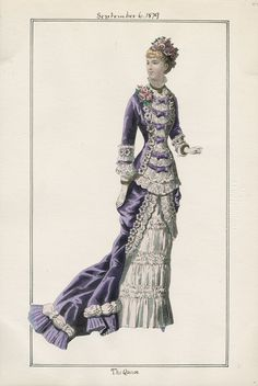 The Queen v. 51, plate 44 September 6 , 1879 vintage fashion plate