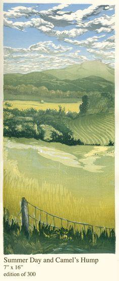 Summar Day and Camel's Hump, Matt Brown Woodblock Prints, 7x16