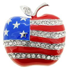 bfd6aa3baa94 Patriotic American Flag Apple Crystal Pin Brooch