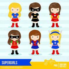 SUPERGIRLS  Digital Clipart  Superheroes Clipart  Niñas por grafos