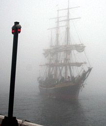 The Picton Castle rolls in through the fog for the Tall Ships Nova Scotia Festival in Halifax on Thursday. I'm going to embrace my inner pirate. Atlantic Canada, Ghost Ship, Sea Crafts, Black Sails, Prince Edward Island, Historical Images, New Brunswick, Ship Art, Fantasy City