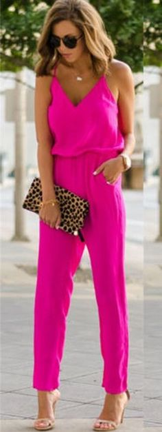 Women s Hot Pink Sleeveless Summer Jumpsuit with spaghetti strap sleeves  and side pockets. Palazos eee5e92483e8