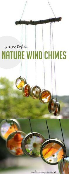 Nature suncatcher wind chimes to make with the kids via @handsonaswegrow