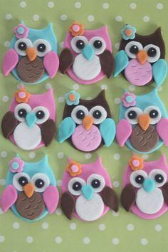 12 toppers de cupcake fondantbúhos 2.0 por PastelFiesta en Etsy