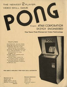 Vintage Atari PONG Arcade Machine Advertisement.
