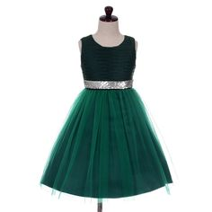 Dressy Daisy Girls' Sequins Embellishment Flower Girl Pageant Party Dresses Kid Size 6 Dark Green. Classic beauty with extra flare. Intricate ruched bodice with flared skirt is another highlight of this dress. Gorgeous sequins embellished waist is such a perfect highlight for this sleeveless dress. 4 layers for added fullness for the skirt. First layer is soft tulle and second layer is satin. Lining is silk like satin with attached netting which is for additional fullness. Zipper closure…