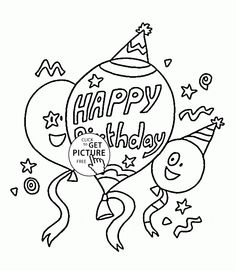 happy birthday balloons coloring page for kids holiday coloring pages printables free wuppsy - Printable Birthday Coloring Pages