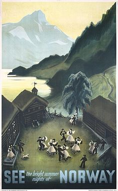 Old Beautiful Norway Travel Poster Plakat 1930s Damsleth, Myres See Norway Offset 1937 39.3 x 24 in. (100 x 61 cm) Printer: Norsk Lithografisk Officin, Oslo