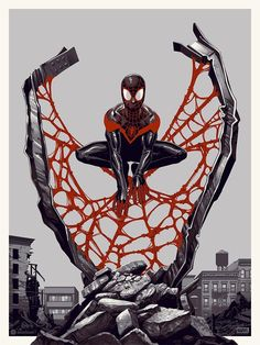 'Spider-Man: Miles Morales' Variant edition print by Phantom City Creative for Mondo Amazing Spiderman, All Spiderman, Spiderman Tattoo, Marvel Comics, Marvel Dc, Miles Morales Spiderman, New Poster, Spider Verse, Illustrations