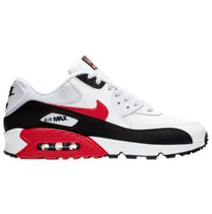 Now Available - Nike Air Max 90 White University Red Black Black Nike Sneakers, New Sneakers, Casual Sneakers, Air Max Sneakers, Nike Shoes, Top Shoes, Me Too Shoes, Air Max 90, Nike Air Max