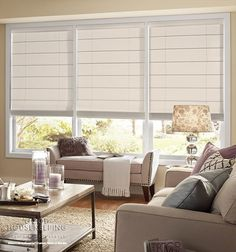 Good Housekeeping™ Roman Shades: Light Filtering Shown in color Solids Oatmeal Large Window Treatments, Window Treatments Living Room, Modern Curtains, Curtains With Blinds, Window Blinds, Window Shutters, Valances, Blinds For Windows Living Rooms, Sunroom Windows