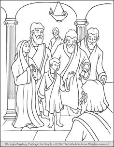 The 5th Joyful Mystery Coloring Page - Finding Jesus in the Temple