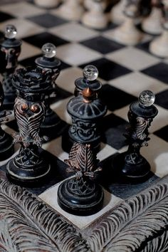 GIFT IDEA #6 A beautiful Hand Carved  Vintage Chess Set.