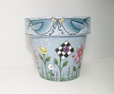 Hand Painted Flower Pot Paper Mache Gift by ToletallyPainted, Clay Flower Pots, Flower Pot Crafts, Painted Flower Pots, Clay Pot Crafts, Painted Pots, Painted Paper, Clay Pots, Pottery Painting, Tole Painting