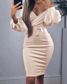 Off Shoulder Twisted Waist Tie Sexy Midi Dress - Alles über Damenmode Unique Dresses, Elegant Dresses, Sexy Dresses, Cute Dresses, Fashion Dresses, Formal Dresses, Casual Dresses, Midi Dresses, Work Dresses