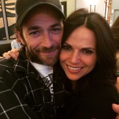 Pin for Later: This Week's Cutest Celebrity Candids Lana Parrilla Once Upon a Time's Lana Parrilla reunited with former cast member Luke Perry from Windfall.