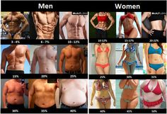 Image that shows what the male and female bodies look like depending on body fat percentage  2014-02-19-bodyfatpercentagepicturemenwomen.jpg