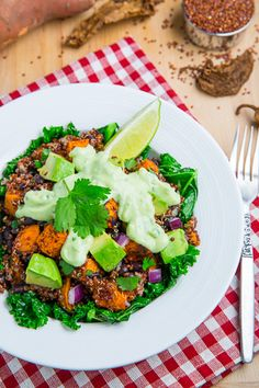 Chipotle Roast Sweet Potato and Black Bean Quinoa Salad with Creamy Avocado Dressing