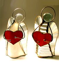 Anioł z sercem - witraż www.mojewitraze.pl