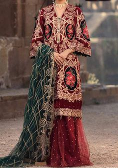 Velvet Pakistani Dress, Pakistani Dresses, Model Pictures, Embroidered Lace, Dress Brands, Kimono Top, Silk, Luxury, Clothes