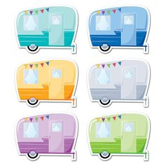 The classic look of these Vintage Trailers 6 designer cut-outs will surely bring the spirit of outdoor adventure to your classroom. These fun camping trailers a Classroom Door, Classroom Themes, Camping Theme For Classroom, Camping Bulletin Boards, Forest Classroom, Vbs Themes, Outdoor Classroom, Classroom Organization Labels, Creative Teaching Press