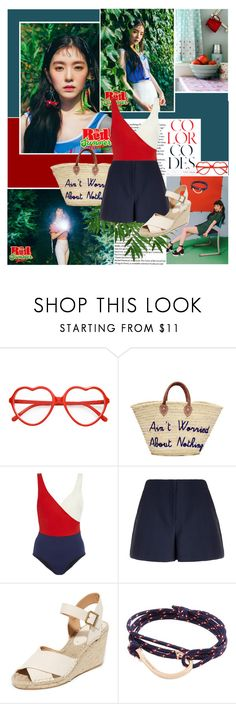 """""""The sound of the waves is blue"""" by angiielf ❤ liked on Polyvore featuring Hard Candy, Poolside Bags, LUISA BECCARIA, Theory, Soludos, MIANSAI, kpop, Irene, redvelvet and kpopgirls"""