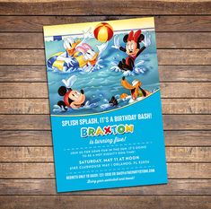 Mickey Mouse Pool Party Invitation Printable by partyprintouts, $13.00