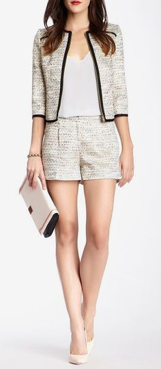 Tweed is absolutely beautiful but can make you look old or outdated. This matching jacket and short ensemble is perfect to add some youth into tweed.