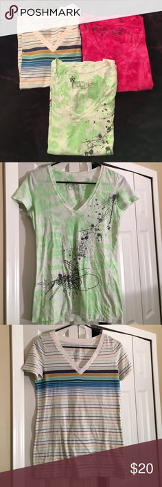 V neck lot of 3 Lot of 3 size medium vneck tshirts. Green w/gray design from Pacsun - Nollie. Striped multicolored - Mossimo. Pink tie dye - Stranded. Excellent condition! Tops Tees - Short Sleeve