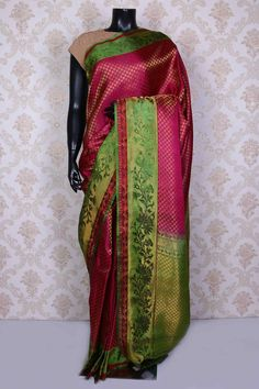 Rani pink pure silk saree with zari weaved pallu -SR14989 | silk sarees for wedding
