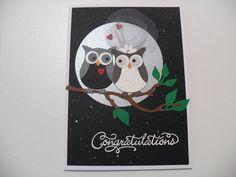 Handmade Wedding Card - Bride and Groom Owl Card - Owl Wedding Card - Congratulations - BLANK Inside