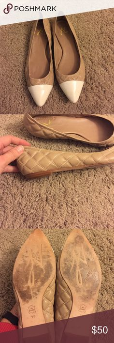 Size 9 J Vincent nude quilted flat Size 9 nude quilted flat with white toe cap from J Vincent. Worn just a few times. Dust bag included. J Vincent Shoes Flats & Loafers