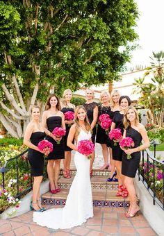 Bride with bridesmaids in little black dresses in La Quinta, California.