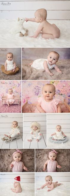 7 month old McKenna and her super sweet sitting stage session in studio. Love this baby photography stage. Sunny S-H Photography