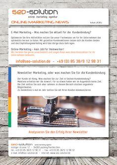 #Newsletter #Marketing - Der Kunde ist König, Was machen Sie zur Zeit in Sachen #Kundenbindung?  Meistens erhalten wir die Antwort, für so etwas haben wir im Augenblick keine Zeit.  Die Zeit sollten Sie sich aber nehmen, in diesem Bereich stecken ungeahnte  Möglichkeiten.  Zu mindestens 4 mal im Jahr sollten Sie mit Ihren #Kunden kommunizieren.