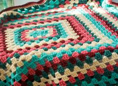 Crochet Baby Blanket Granny Square Afghan  Shower by beadedwire