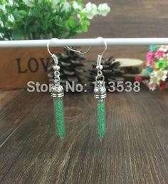 300sets/lot Miniature empty tusk Glass Vial Earrings craft kit, Dangle Earrings, Bottle Earrings stoppers cap jumpings ear wires