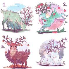 Cute Kawaii Animals, Cute Animal Drawings Kawaii, Kawaii Drawings, Cool Drawings, Cute Fantasy Creatures, Mythical Creatures Art, Cute Creatures, Deer Drawing, Art Folder