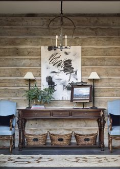 Interiors Tour: Montana Dog House Part One - Heather Scott Home & Design Wood Ceilings, Ceiling Beams, Room Interior Design, Interior Styling, Wall Design, House Design, Rustic Entry, Custom Fireplace, Wall Paint Colors