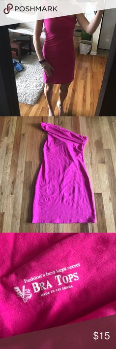 💓Hot pink dress💓 Super comfy. Form fitting, but stretchy. Built in bra. 94% cotton, 6% spandex. Purchased from Victoria's Secret (online). In great shape, only worn once! Dresses Mini
