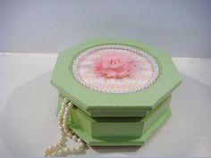 green jewelry box girls jewelry box by NiftyandThriftyFinds