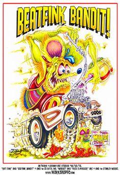 Johnny Ace RARE Poster! RAT FINK Big Daddy ROTH Monster BEATNIK BANDIT Mouse OOP #JohnnyAceStudiosRothStudios