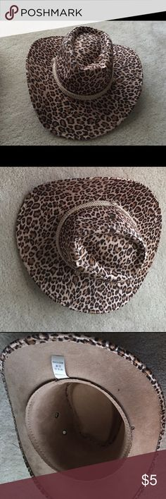 Cowgirl hat Leopard print hat, inside 23 inches Accessories Hats